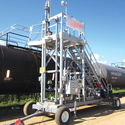 GREEN Portable Transloading Platforms for Railcars & Tank Trucks | Made in the USA by Benko Products